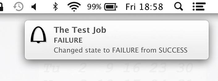 Mac OS X native notification popup.