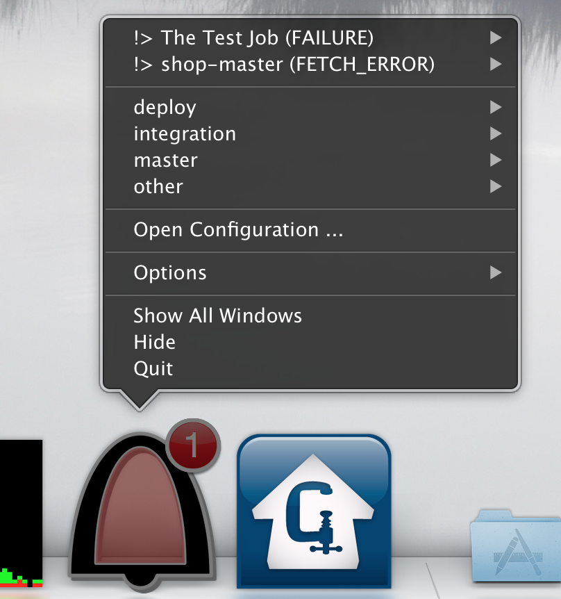 The context menu to access the webpage of a job or to start a build.