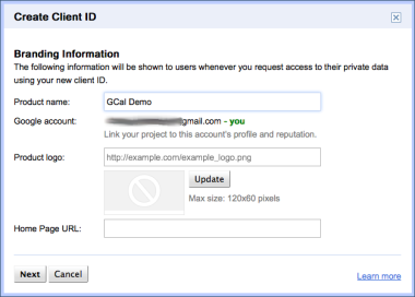Create a new client id for a Google API project (part 1)