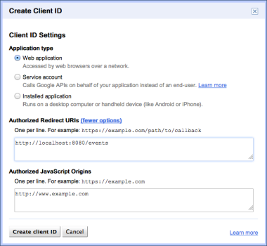 Create a new client id for a Google API project (part 2)