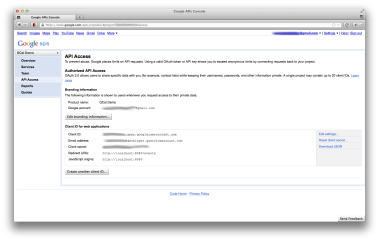 Google API project has been created