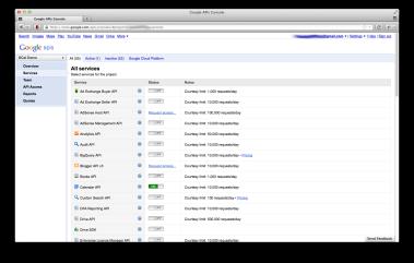 Activate access to Google calendar API