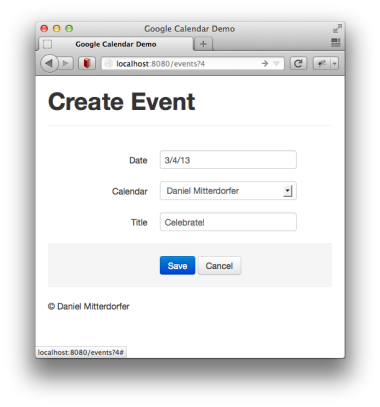 Creating a new Google calendar event